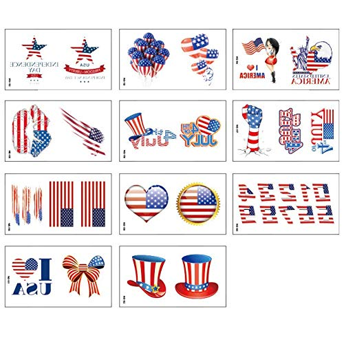 11PCS/Package American Independence Day Tattoo Sticker Environmental Protection Tattoo Sticker American Flag Watermark Face Sticker Tattoo