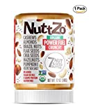 Nuttzo Organic Crunchy Paleo Power Fuel Seven Nut and Seed Butter, Peanut Free, 12 oz, 1 Pack