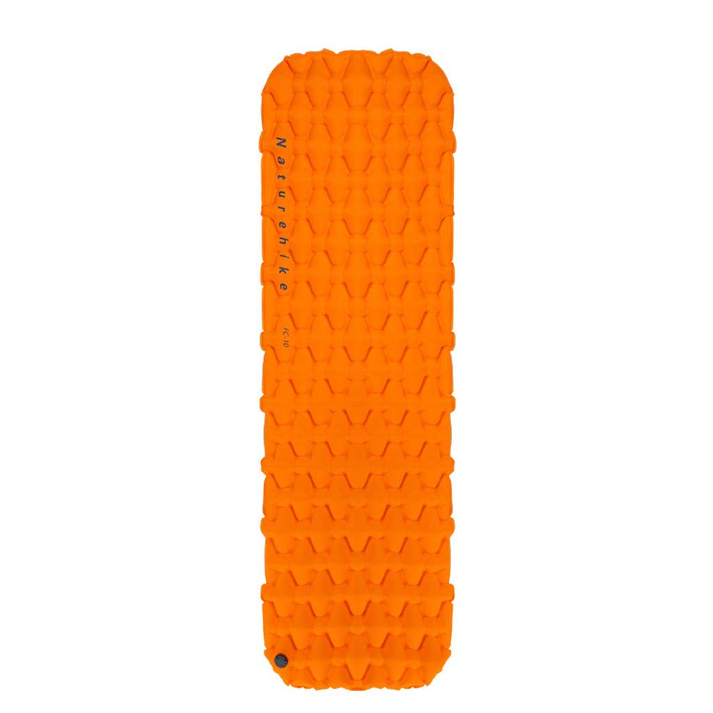 WONdere Ultralight Inflating Portable Bed Mat for Hiking Backpacking Folding Mattress (Orange)