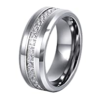 L-Ring 8MM Tungsten Wedding Ring with Rhinestone Center and Polished Beveled Edges,Size 6-14