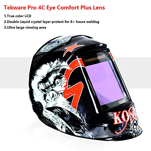 Tekware Welding Helmet 4C Lens Technology Solar Power Auto Darkening Hood True Color LCD Welder Mask Ultra Large Viewing Area Breathable Grinding Helmets with Adjustable Shade Range by Tekware (Image #3)