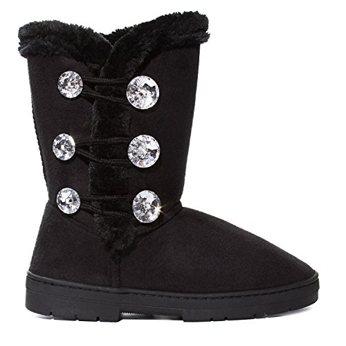 Sara Z Kids Girls Rhinestone Button with Elastic Loops Faux Fur Lined Mid Calf Fashion Winter Boots (See More Colors and Sizes)