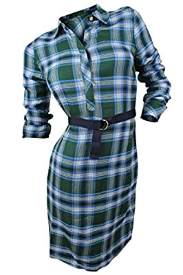 Tommy Hilfiger Womens Plaid Adjustable Sleeves Shirtdress