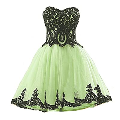 Kivary Short Tulle Vintage Black Lace Gothic Prom Homecoming Cocktail Party Dresses