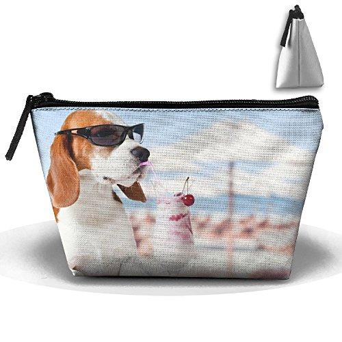 Samcoper Trapezoidal Capacity Storage Makeup Bag Beagle's Holiday
