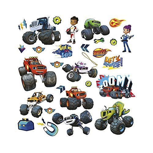 28 BLAZE AND THE MONSTER MACHINES WALL DECALS Trucks Stickers Boys Bedroom Decor-New