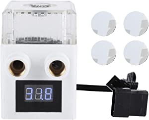 Wendry PC Cooled Water Pump, 12V Ceramic Bearing Three-Phase PC Temperature Display Integrated Water Cooling Pump for Computer Water Cooling System(White)