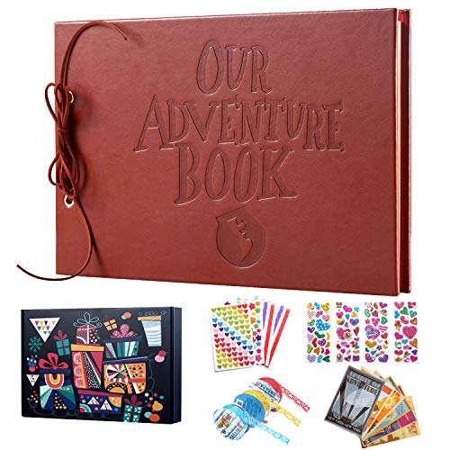 Our Adventure Book, TEOYALL Leather Cover Adventure Photo Album DIY Scrapbook Wedding Guest Book (Leather Cover)