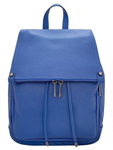 DeFeliceBags LETIZIA - Bolso mochila para mujer Beige cuero 34x28x12 BLUE