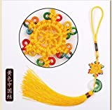 Handmade Tranditional Chinese Knot with Chinese Cloud Brocade Decorate and a Decorative Jade (yellow 11 Inch)