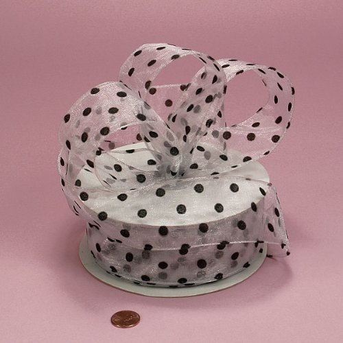 White Sheer Ribbon with Black Polka Dots, 2