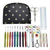 HATABO Crochet Hooks Bags Knitting Needles Set with Bag 32 PCS DIY Crochet Hook Set with Black Dot Print Bag