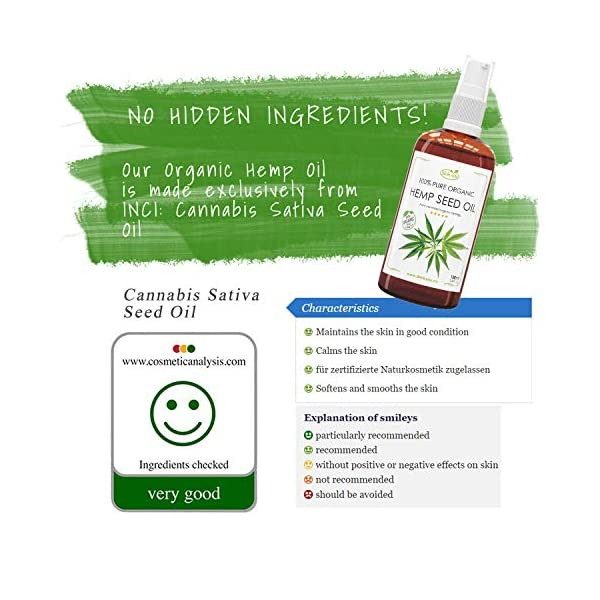 Hemp Seed Oil 100 ml 100% Pure & Organic Coldpressed   Top Hair Nourishment, Easily Absorbed by Scalp   Improves The Blood Circulation   Contributes to Keratin Formation   Leaves Soft, Hydrated Skin