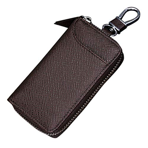 Key Holder Case,Portable PU Leather Car Key Chain Purse with 6 Hooks for Men and Women(Brown)