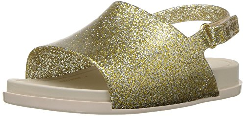 Mini Melissa Girls' Mini Beach Slide Sandal Flat, Gold Glitter, 11 M US Little Kid