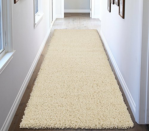 Ottomanson Soft Cozy Color Solid Shag Runner Rug Contemporary Hallway and Kitchen Shag Runner Rug, Cream, 2'7
