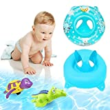 Bath Seat Ring 3-36 Months Bath Sets , Safety Kids Inflatable baby Seat ,Infant Pool Float Swimming Toy With Safe Handle,Puls 2 Pieces Bathtub Toys Turtle and Crocodile Wind up Water Toy (Blue)
