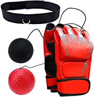 OUEEGER Boxing Reflex Ball for Kids and Adults, Boxing Equipment with Professional Boxing Gloves and Adjustabl