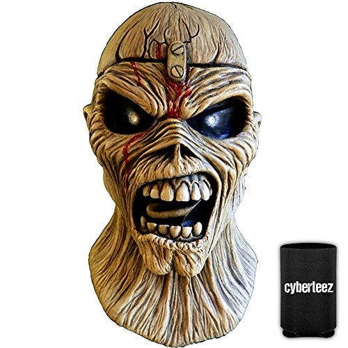 IRON MAIDEN Eddie Piece Of Mind Trooper Men's Latex Costume Overhead Mask + Coolie Iron Maiden Eddie