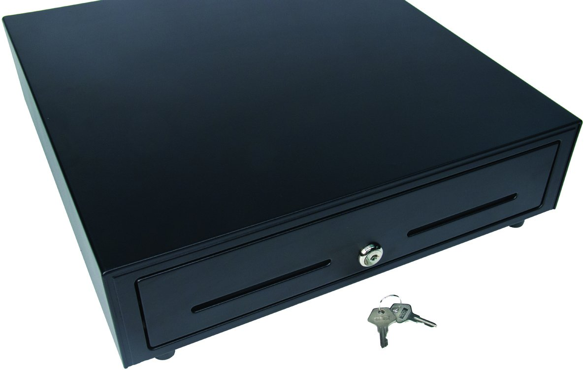 Star Micronics CD3-1616 Traditional 4 Bill / 8 Coin Cash Drawer for Canadian Currency with 2 Media Slots and Included Cable (16'' x 16'') - Black
