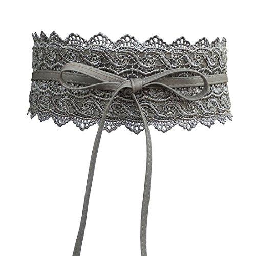 Women's Lace Belt Bow Tie Wrap Around Obi Waist Band Cincher Boho Soft PU Faux Leather For Dresses ()