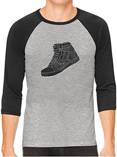 Austin Ink Apparel Street Sneaker Shoe Gray Unisex 3/4 Sleeve Baseball Tee, Charcoal, XL