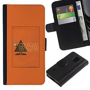 For Samsung Galaxy S5 V SM-G900 Case , Polygon Triangle Text Funny Orange - la tarjeta de Crédito Slots PU Funda de cuero Monedero caso cubierta de piel