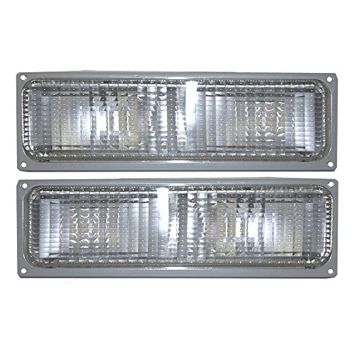 Driver and Passenger Park Signal Front Marker Lights Lamps Lenses Replacement for Chevrolet GMC Pickup Truck SUV 5975423 5975424 AutoAndArt