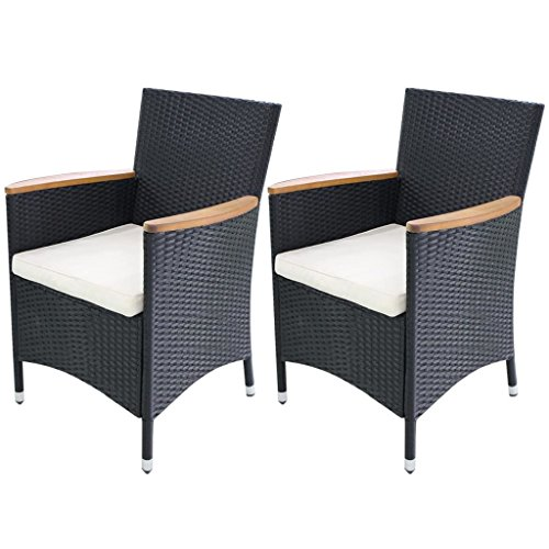 Festnight Garden Wicker Patio Dining Chairs Black Poly Rattan, Set of 2
