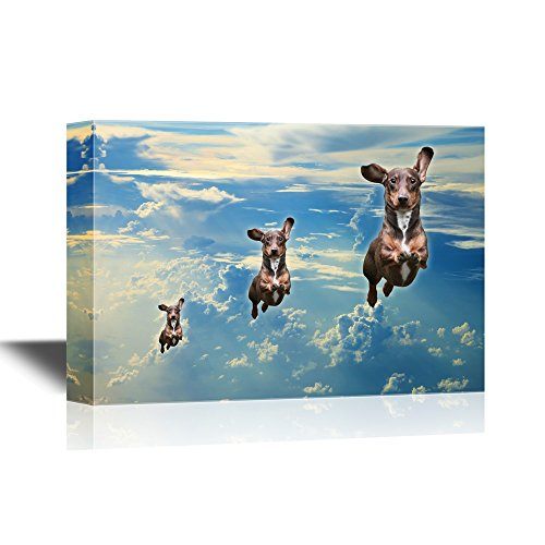 wall26 - Funny Flying Animals Canvas Wall Art - Three Dogs Flying in a Line in the Clear Sky - Gallery Wrap Nursery Wall Decoration/ Kids' Room Decor | Ready to Hang - 12x18 (Dog Line Art)