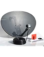 SSL Satellites 80CM Zone 2 Freesat HDR Satellite Dish DIY Self Installation Kit,Latest Dish with Quad LNB,5 Meter Twin Black coax Cable all necessary Brackets,Bolts and SATELLITE FINDER
