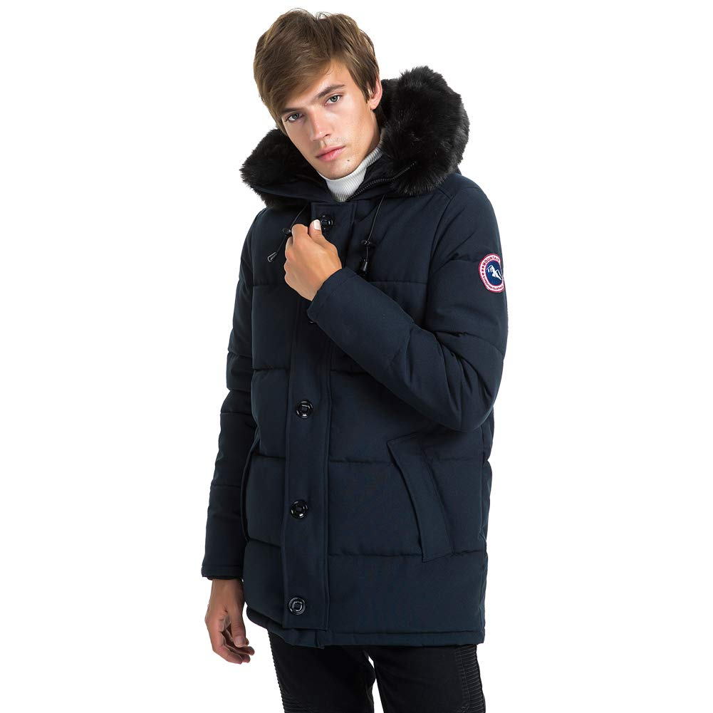 PUREMSX Mens Winter Jacket, Extremely Thicken Quilted Fur Hooded Long Anorak Parka Padded Coat PX11AA