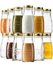 Bormioli Rocco Quattro Stagioni Glass Drinking jar Bottle 13½ Ounce Milk Bottles with Gold Metal Airtight Lids, for Juicing, Smoothies, Homemade Beverages Bottle, Reusable Glass Water Bottle
