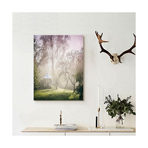 Liguo88 Custom canvas Landscape Pavilion in Moody Garden with Trees Misty Hazy Weather Foggy Nature Image Wall Hanging for Mauve Green White (Moody Christmas Blues The Album)