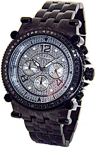 lack Diamond Watch Chronograph Mens Black Case Black Metal Band MJ-1172B ()