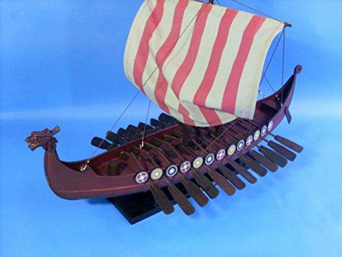 "Hampton Nautical Wooden Viking Drakkar Model Boat, 24"""
