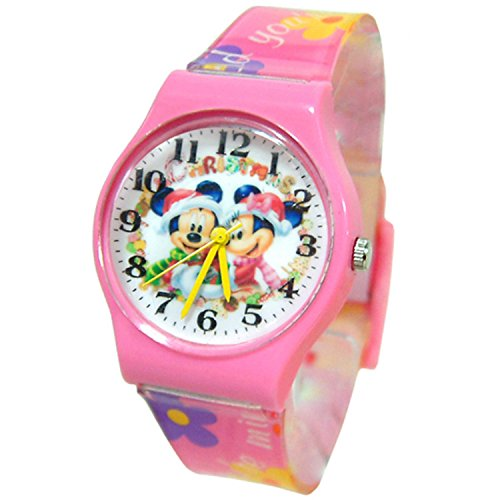 Disney Watch Minnie & Mickey Mouse Merry Christmas.Large Analog Display. Band 9