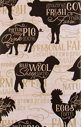 Farmer's Market Cows, Pigs, Sheep and Chickens Vinyl Flannel Back Tablecloth (52