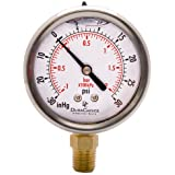 """2-1/2"""" Oil Filled Vacuum Pressure Gauge for air compressor water oil gas - Stainless Steel Case, Brass, 1/4"""" NPT, Lower Mount Connection -30HG/30PSI"""