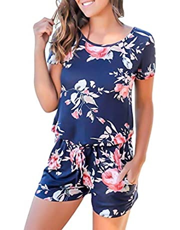 8eefeb7509 RichCoco Women s Summer Floral Printed Jumpsuit Casual Loose Short Sleeve  Tie Back Jumpsuit Rompers Shorts