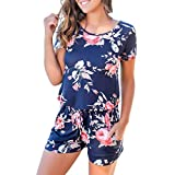 RichCoco Women's Summer Floral Printed Jumpsuit Casual Loose Short Sleeve Tie Back Jumpsuit Rompers Shorts (S, Blue)