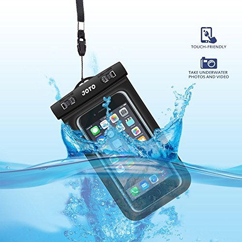 "Universal Waterproof Case, JOTO CellPhone Dry Bag Pouch for Apple iPhone 6S 6,6S Plus, SE 5S, Samsung Galaxy S7, S6 Note 5 4, HTC LG Sony Nokia Motorola up to 6.0"" diagonal -Black"