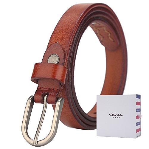 BISON DENIM Women's Skinny Thin Belts Genuine Leather Dress Belt Metal Buckle Waistband Brown 110cm