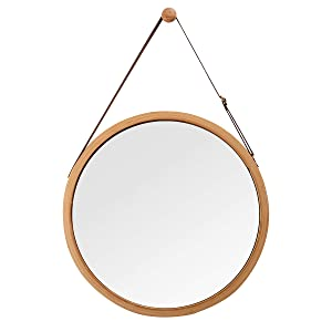 "Hanging Round Wall Mirror in Bathroom & Bedroom - Solid Bamboo Frame & Adjustable Leather Strap, Makeup Dressing Home Decor (Bamboo Natural, 15"")"