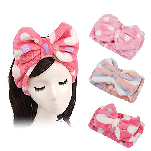 Shintop 3 Pack Flannel Cosmetic Headbands, Bowknot Elastic Hair Band Hairlace for Washing Face Shower Spa Makeup (Pink Polka Dots+Red Heart+Purple Stripe)