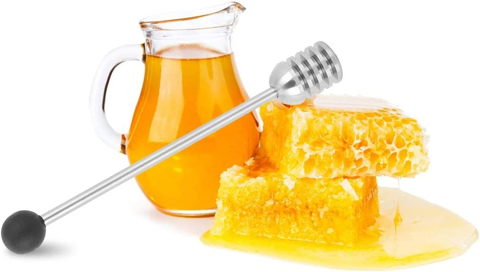 Negro Honey Dipper Hogar 304 Acero inoxidable Cuchara de miel Dipper Agitador Mezclador Palo Cocina Cocina Herramienta