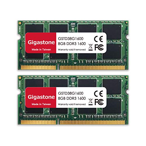 Gigastone 16GB 2-pack SODIMM DDR3 1600 MHz geupgrade Ram geheugen, interne opslag PC3-12800 CL11 1.35V 204 Pin…