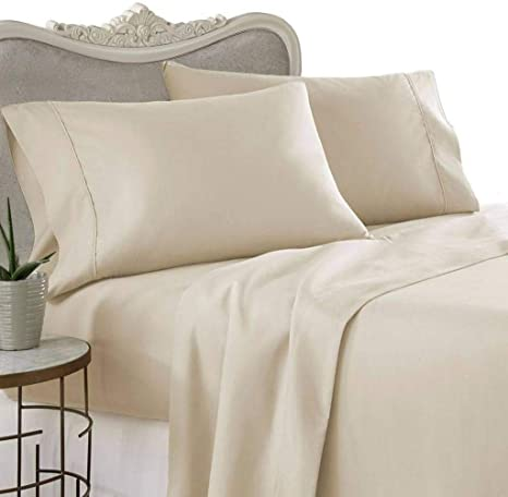 1000 Thread Count Four 4 Piece Queen Size Beige Solid Bed Sheet Set 100 Egyptian Cotton Premium Hotel Quality Home Kitchen