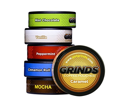 Grinds Coffee Pouches – 6 Can Sampler Pack – Tobacco Free, Nicotine Free Healthy Alternative