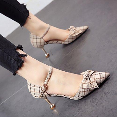solo y tacón de Zapatos superficial zapatos parte de la personalidad La FLYRCX primavera moda mujer verano tacón de zapatos y delgado el b UO1PqSzw